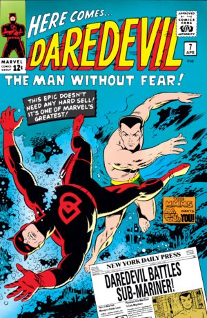 Namor's last appearance prior to his Silver Age title, in Daredevil 1964 #7