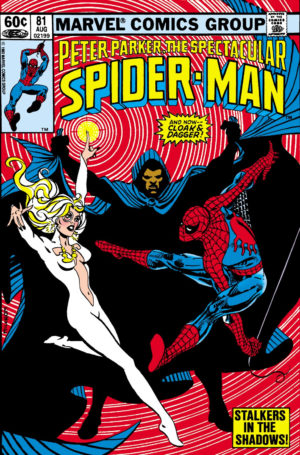 Cloak and Dagger towards the end of their early guest appearances in Peter Parker, The Spectacular Spider-Man #81