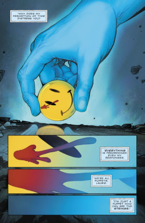 Dr. Manhattan appears on panel in Flash #22 with a quote directly from Watchmen