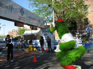 The Phanatic crosses the finish line at my first Blue Cross Broad Street Run.