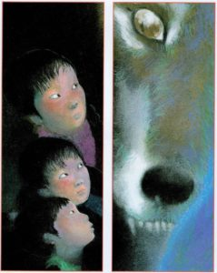 The wolf being creepy on the other side of the door from the children in Lon Po Po.